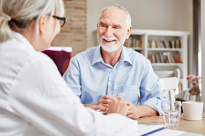 happy older man seeking treatment for erectile dysfunction